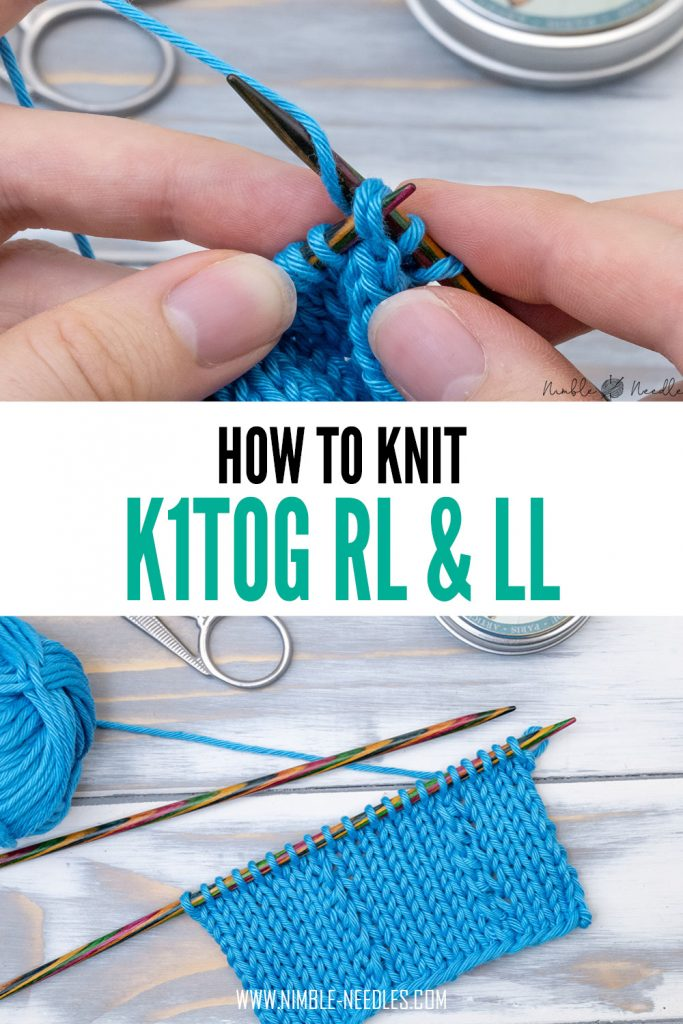 how to k1tog rl and ll - two smart knitting decreases with many applications