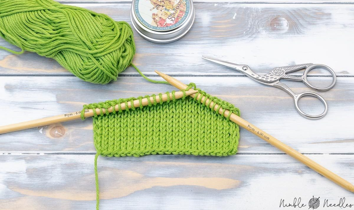 learning how to knit the continental way with a swatch
