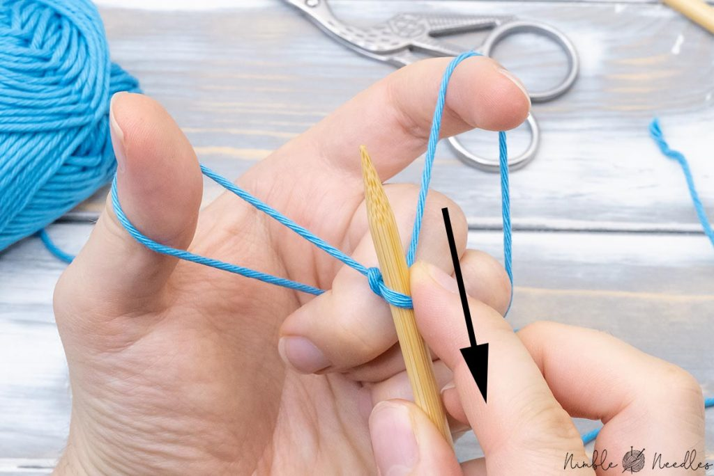 creating a sling shot by pulling the needle with the slip knot towards the body